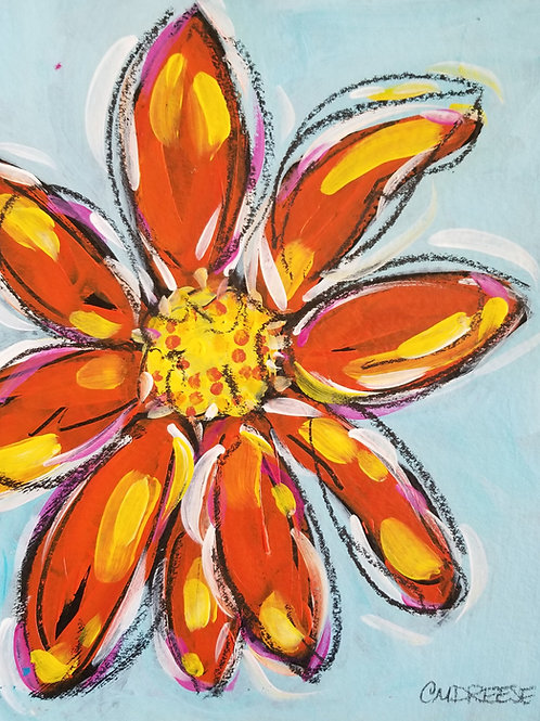 """Grandmother's Garden: Daisy"" Original Mixed Media Painting on Pa"