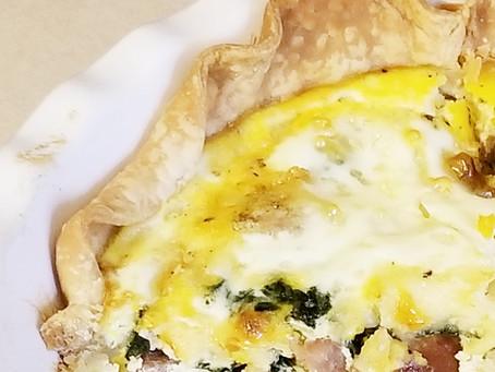 Spinach, Mushroom, Ham & Swiss Quiche