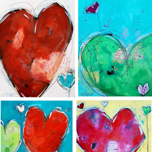 Original Mixed Media Paintings - Spreading the Love Heart Series