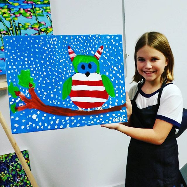 Finished with her Christmas owl painting