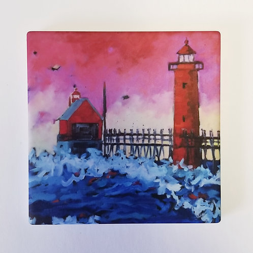Pink Sky Grand Haven Sunset Lighthouse Coaster and Pot Holder