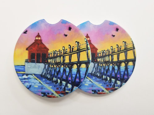 Grand Haven Sunset Lighthouse II Car Cup Holder Coaster - 2 pack