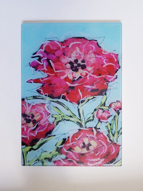 Peonies Glass Art/ Cutting Board