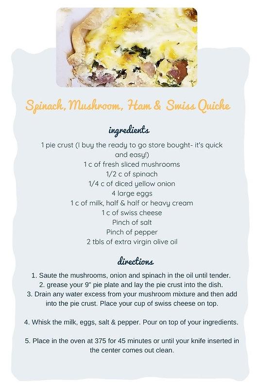 Spinach, Mushroom, Ham and Swiss Quiche