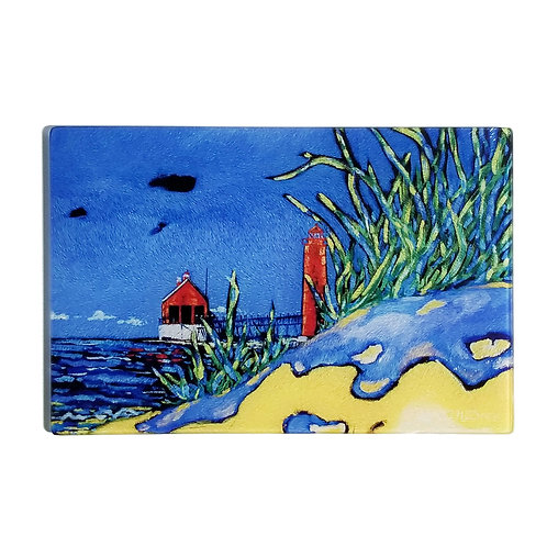 Grand Haven  Lighthouse Glass Art/ Cutting Board