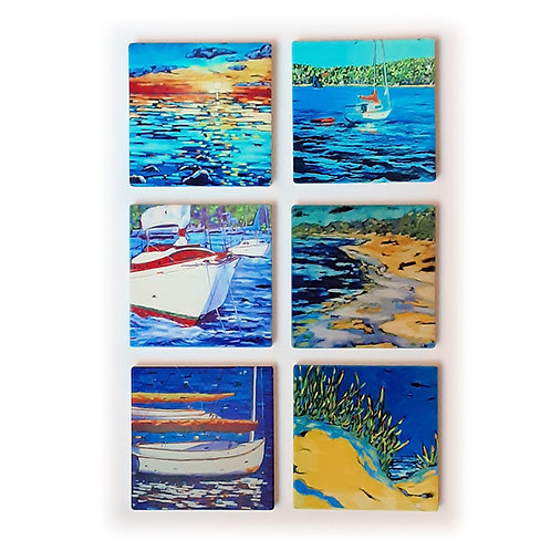 Boats and Beaches Coasters
