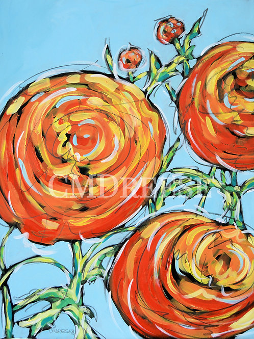 """""""Orange Crush"""" Ranunculus Print"""