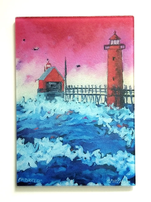 Grand Haven Sunset Lighthouse Glass Art/ Cutting Board