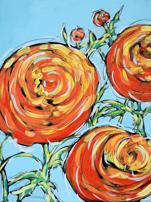 """Orange Ranunculus"" Grandmother's Garden Series"