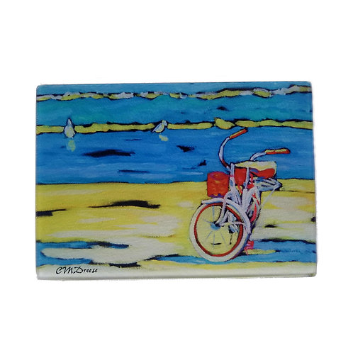 Morning Bike Ride Glass Art/ Cutting Board