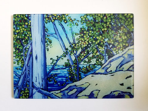 Overlooking the Lake Glass Art/ Cutting Board