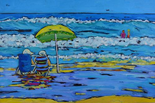 """Beachgoers II"" Original Oil Painting on Canvas"
