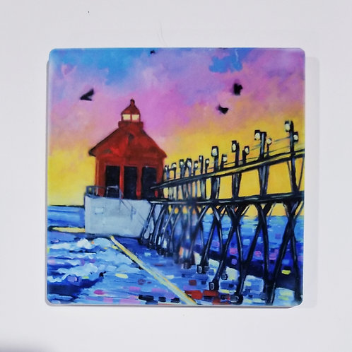 Grand Haven Lighthouse Coaster and Pot Holder