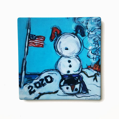 2020 Covid USA Snowman Coaster and Pot Holder