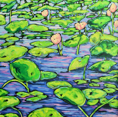 """Waterlillies"" Original Oil Painting on Canvas"