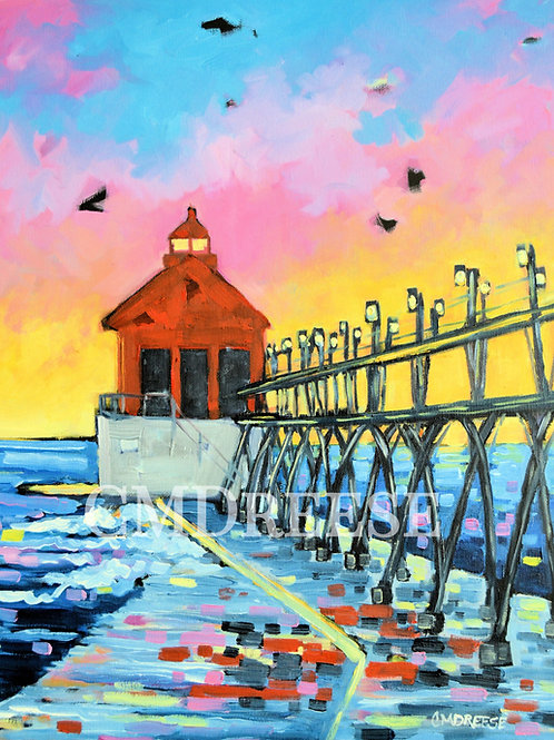 """Grand Haven Lighthouse Sunset"" Print"