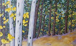 Woods oil painting 30x48 Christi Dreese.