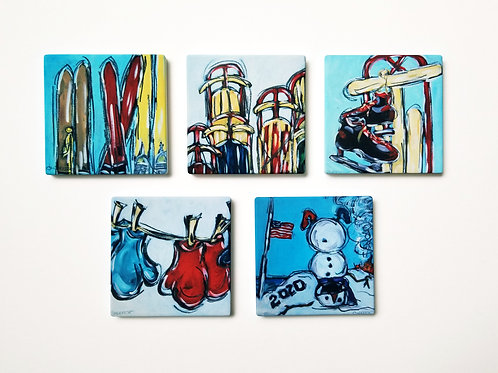Set of 5 of the Vintage Holiday Collection Coasters