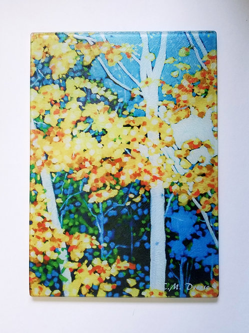 Autumn Birch Trees Glass Art/ Cutting Board