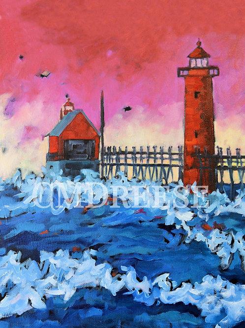 """Pink Sunset -Grand Haven Lighthouse"" Print"