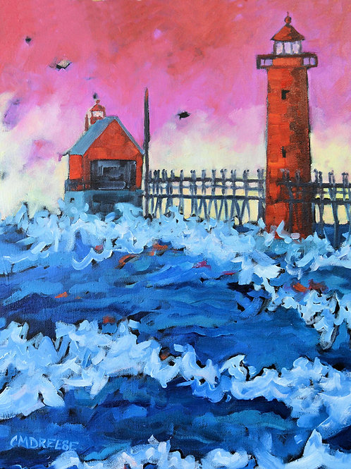 """Grand Haven Sunset Lighthouse"" Oil Painting on Canvas"
