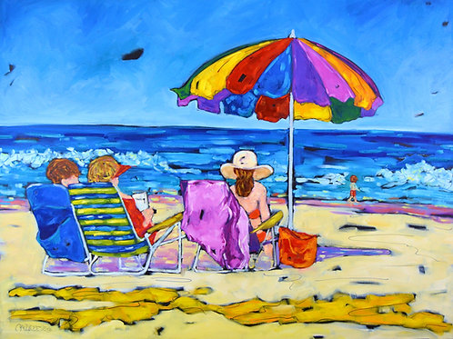"""Beachgoers II"" Oil Painting on Canvas"