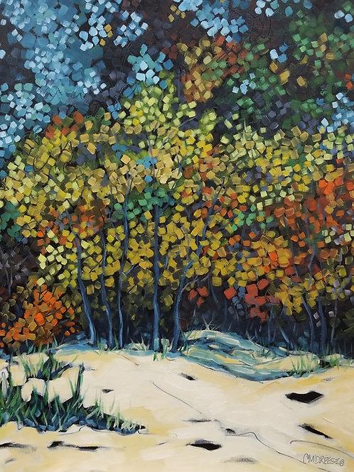 Original Beach, Autumn Oil Painting