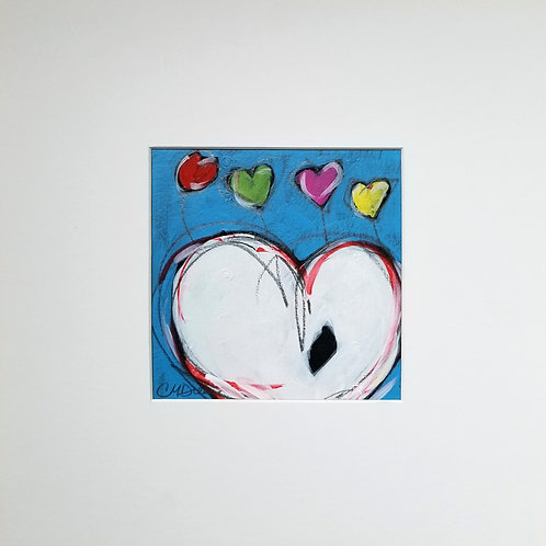 """Four Hearts"" Original Mixed Media Painting"
