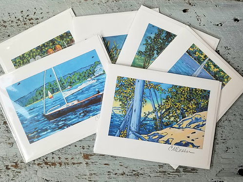 Beach and Boats Notecards Signed by Christi Dreese