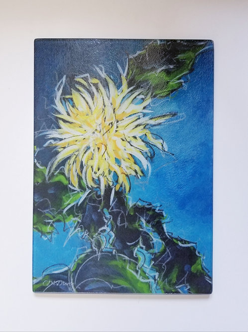 Chrysanthemum Glass Art/ Cutting Board