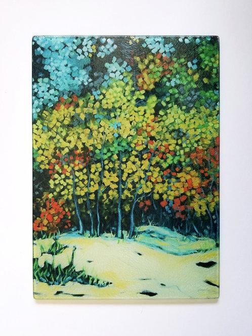 Autumn Beach Trees Glass Art/ Cutting Board
