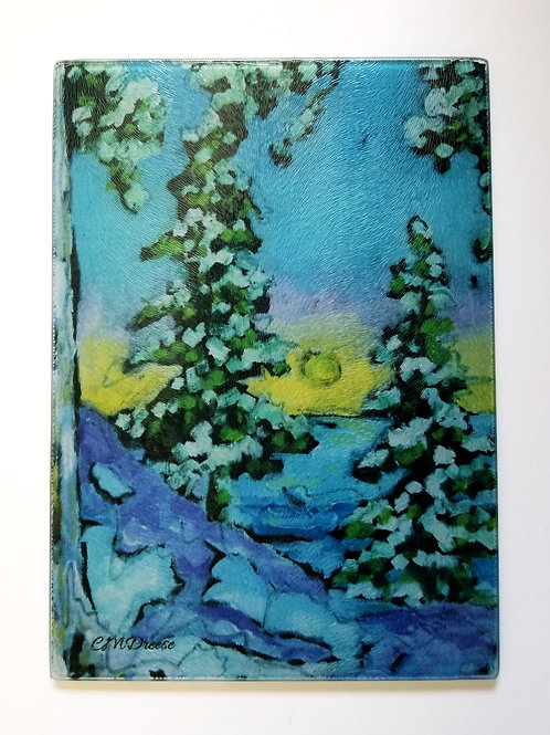 Winter Pines Glass Art/ Cutting Board
