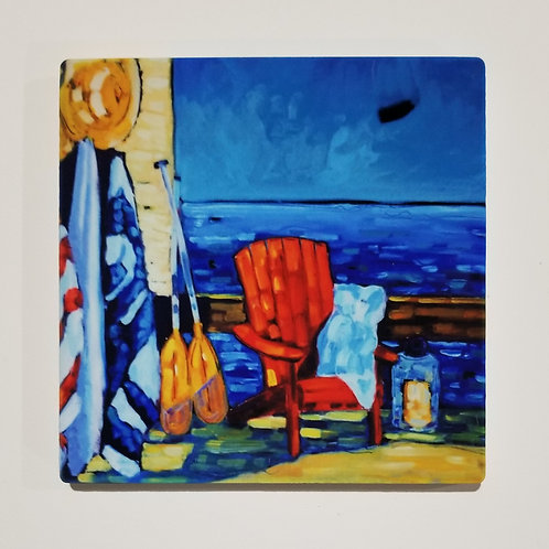 Red Adirondack Chair Coaster and Pot Holder