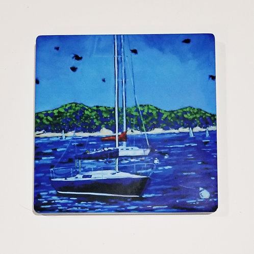 Sailing on Lake Michigan Coaster and Pot Holder