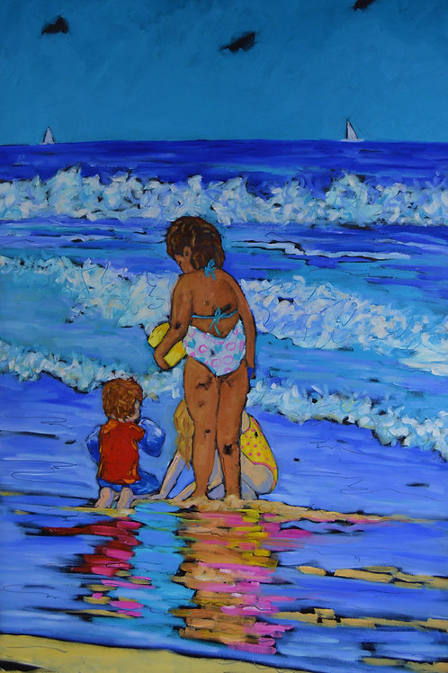 """Splash Around in the Surf"" Oil on gallery wrap canvas"