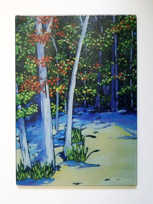 Beach Trees Glass Art/ Cutting Board