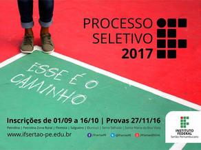 IF Sertão-PE lança edital do Processo Seletivo 2017 para cursos técnicos