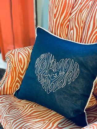Wood Grain Heart Pillow