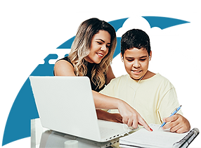 A LatinX mom assists her young son with his remote learning.