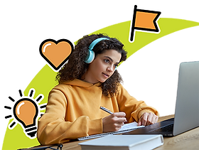 A 5th grade student has her headphones on while she watches her computer screen and completes some schoolwork. A ray of light and organge icons representing clarity, social emotional learning, and goal setting are in the background.