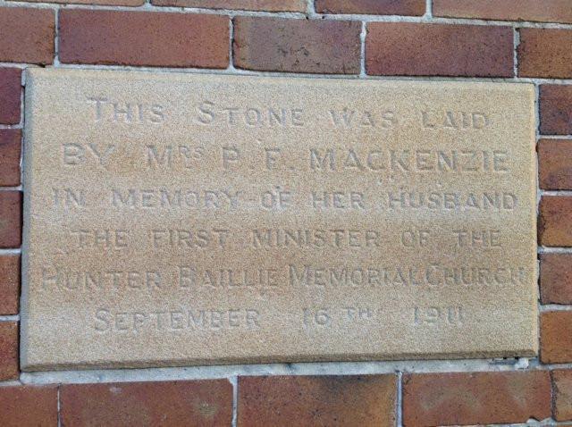 memorial laid by Mrs P F Macenzie