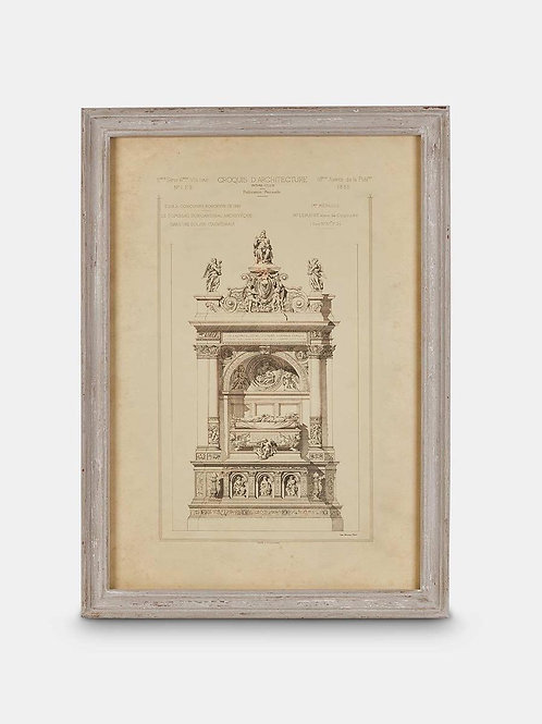 Framed Architectural Print with Aged Ash Frame, Print No III