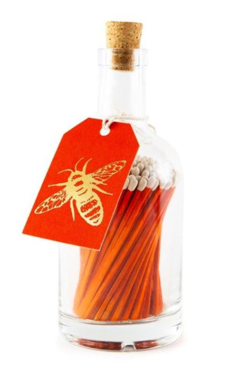 Orange Bee Glass Bottle of Matches