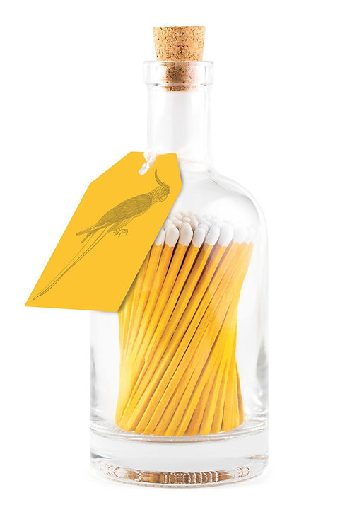 Yellow Parrot Glass Bottle of Matches