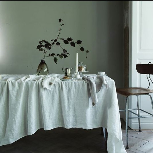 Swedish Pure Linen Tablecloth, White