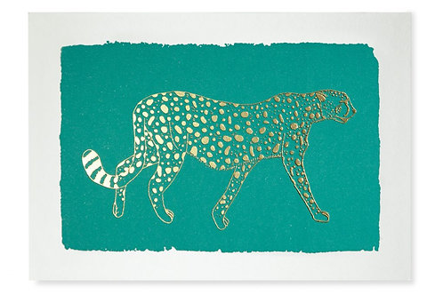 Pack of 5 Notecards - Turquoise Cheetah
