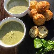 Watercress Soup & Cheese & Watercress Scones