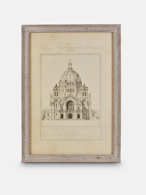 Framed Architectural Print with Aged Ash Frame, Cathedral, Print No I