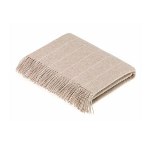 Pure Lambswool Pinstripe Throw, Stag