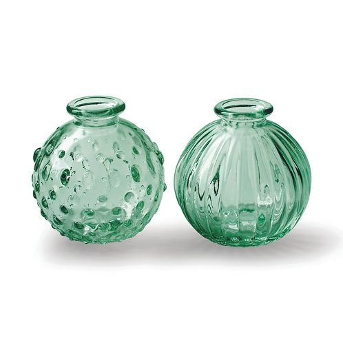Pair of Small Round Botanical Vases, Green, Set of 2 Designs